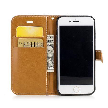 Tasche für Apple iPhone 8 Jeans Cover Handy Schutz Hülle Case Grau – Bild 2