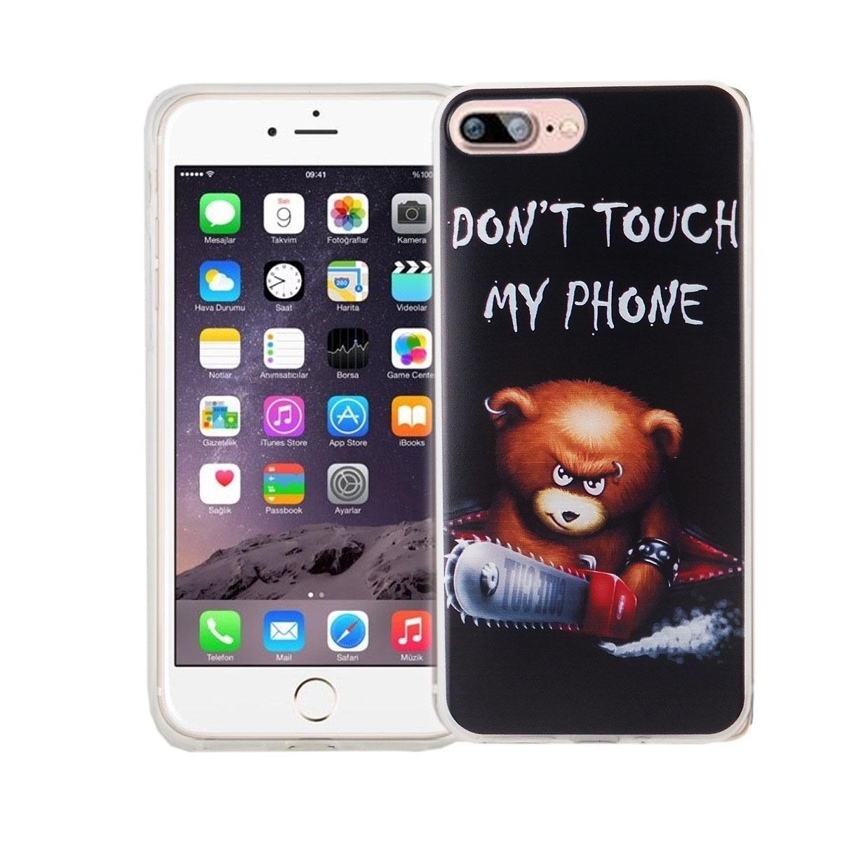 Handy Hülle für Apple iPhone 8 Plus Cover Case Schutz Tasche Motiv Slim Silikon TPU Schriftzug Bär mit Kettensäge