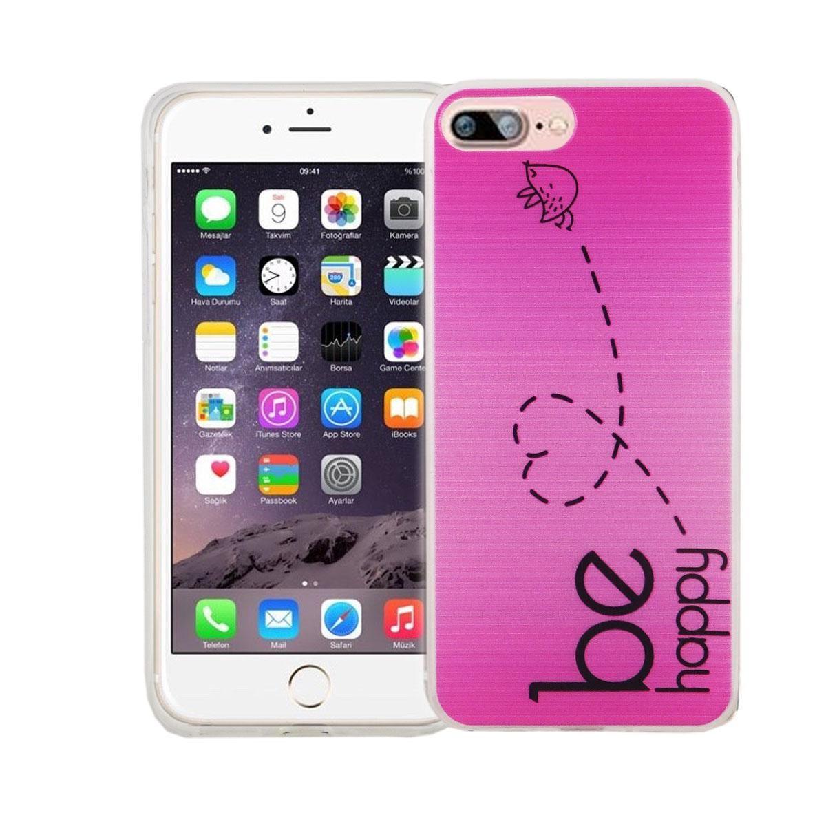 Handy Hülle für Apple iPhone 8 Plus Cover Case Schutz Tasche Motiv Slim Silikon TPU Be Happy Pink
