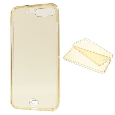 Crystal Case Hülle für Apple iPhone 8 Plus Gold Rahmen Full Body