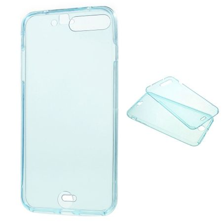Crystal Case Hülle für Apple iPhone 8 Plus Blau Rahmen Full Body
