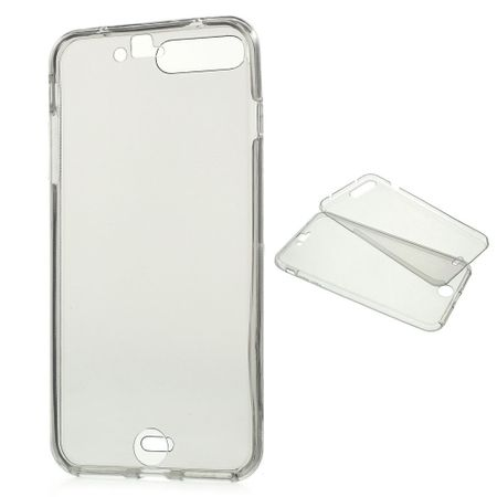 Crystal Case Hülle für Apple iPhone 8 Plus Grau Rahmen Full Body