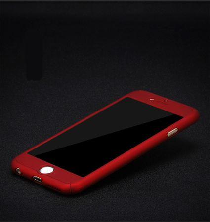 Apple iPhone 8 Plus Handy-Hülle Schutz-Case Full-Cover Panzer Schutz Glas Rot