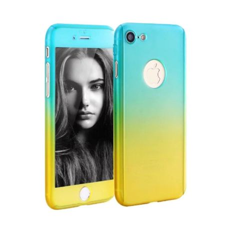 Apple iPhone 8 Plus Handy-Hülle Schutz-Case Cover Panzer Schutz Glas Blau / Gelb