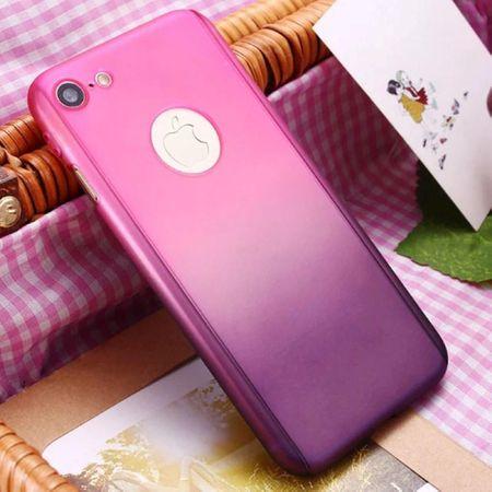 Apple iPhone 8 Plus Handy-Hülle Schutz-Case Cover Panzer Schutz Glas Pink – Bild 3
