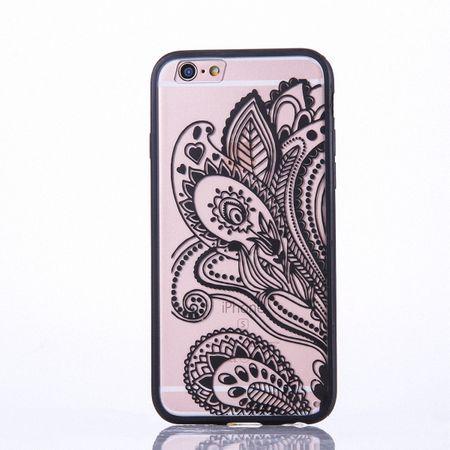 Handy Hülle Mandala für Apple iPhone 8 Plus Design Case Schutzhülle Motiv Blüte Cover Tasche Bumper Schwarz