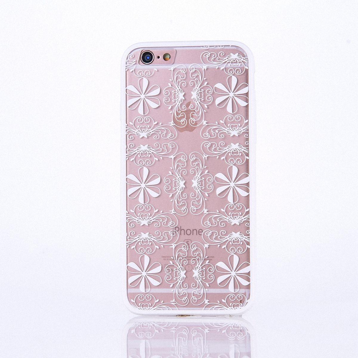 Handy Hülle Mandala für Apple iPhone 8 Plus Design Case Schutzhülle Motiv Ornamente Cover Tasche Bumper Weiß