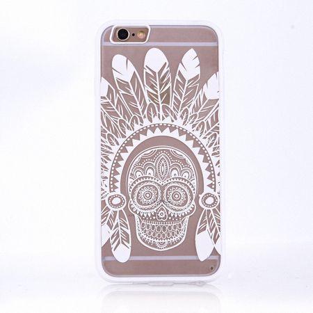 Handy Hülle Mandala für Apple iPhone 8 Plus Design Case Schutzhülle Motiv Federn Totenkopf Cover Tasche Bumper Weiß