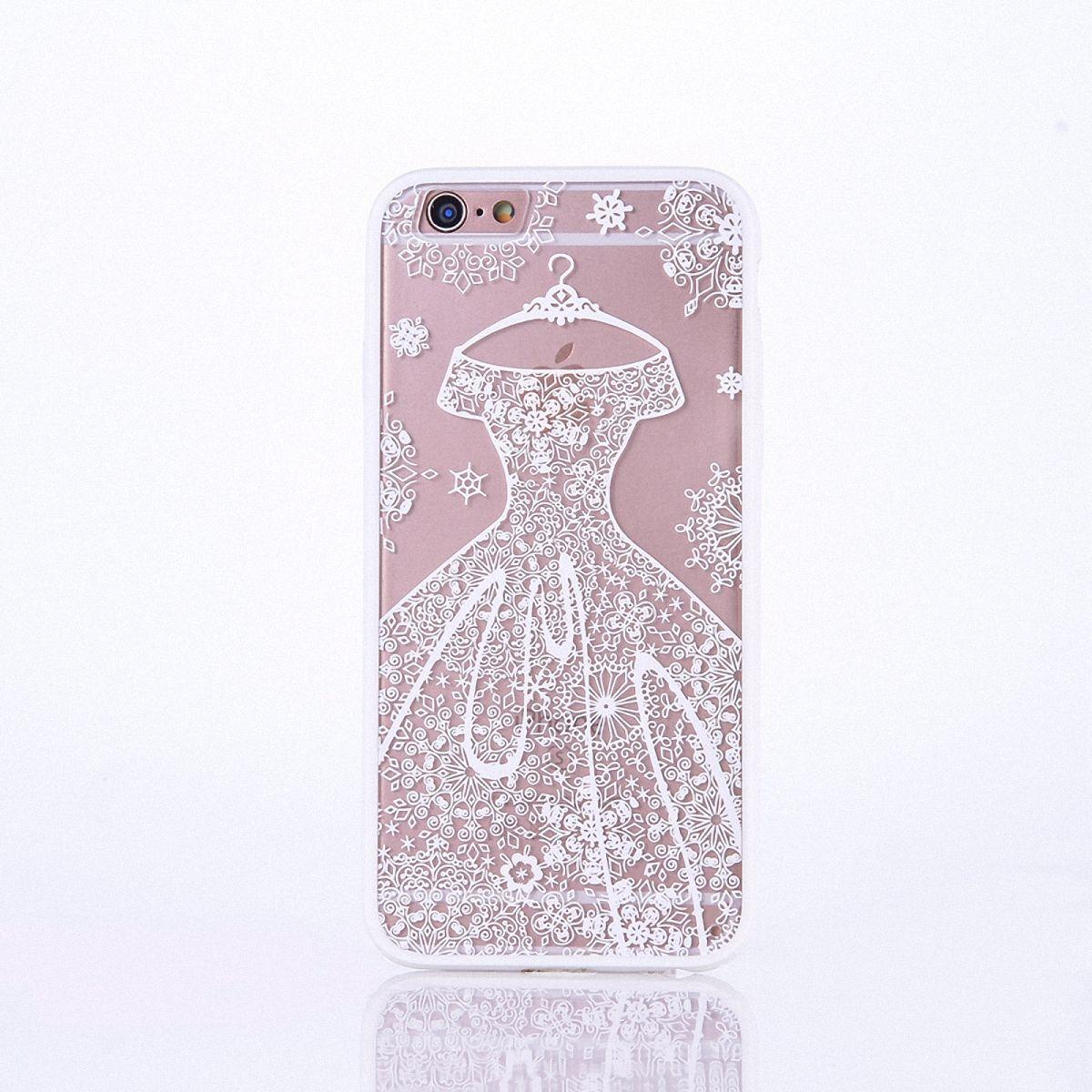 Handy Hülle Mandala für Apple iPhone 8 Plus Design Case Schutzhülle Motiv Kleid Cover Tasche Bumper Weiß