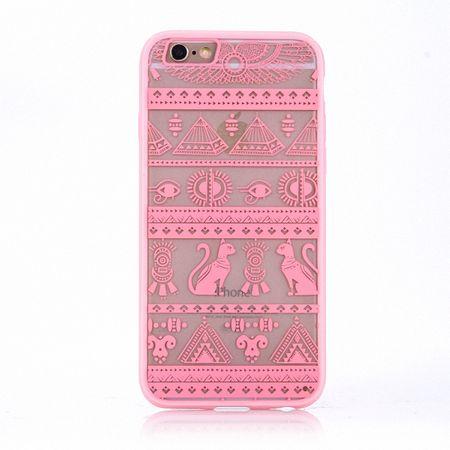 Handy Hülle Mandala für Apple iPhone 8 Plus Design Case Schutzhülle Motiv Ägyptische Zeichen Cover Tasche Bumper Rosa