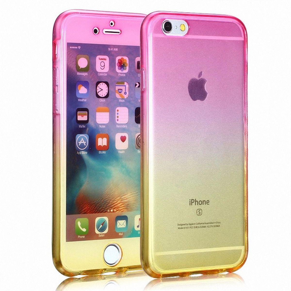Crystal Case Hülle für Apple iPhone 8 Plus Pink Gelb Rahmen Full Body