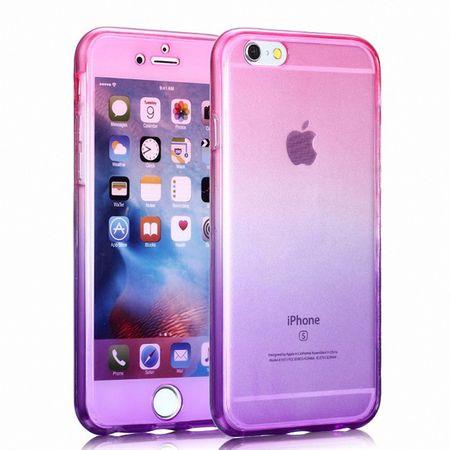 Crystal Case Hülle für Apple iPhone 8 Plus Pink Lila Rahmen Full Body