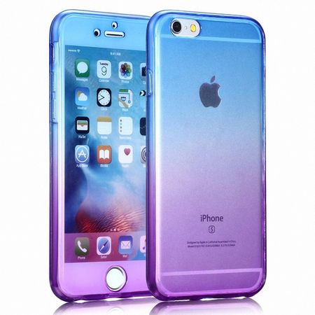 Crystal Case Hülle für Apple iPhone 8 Plus Blau Lila Rahmen Full Body
