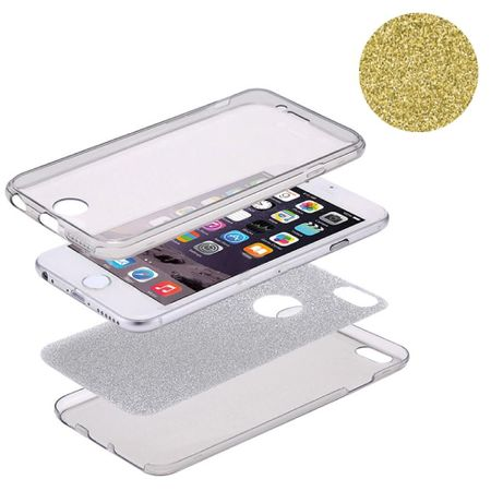 Crystal Case Hülle für Apple iPhone 8 Plus Glitzer Case Gelb Full Body