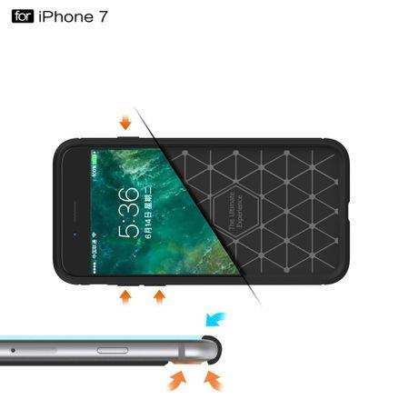 Apple iPhone 8 Plus Cover TPU Case Silikon Schutz-Hülle Handy Bumper Carbon Optik Blau – Bild 7