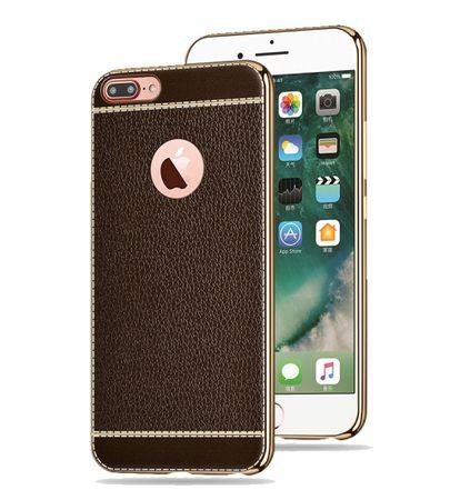 Handy Hülle für Apple iPhone 8 Plus Schutz Case Tasche Bumper Kunstleder Braun