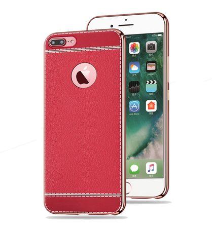 Handy Hülle für Apple iPhone 8 Plus Schutz Case Tasche Bumper Kunstleder Rot