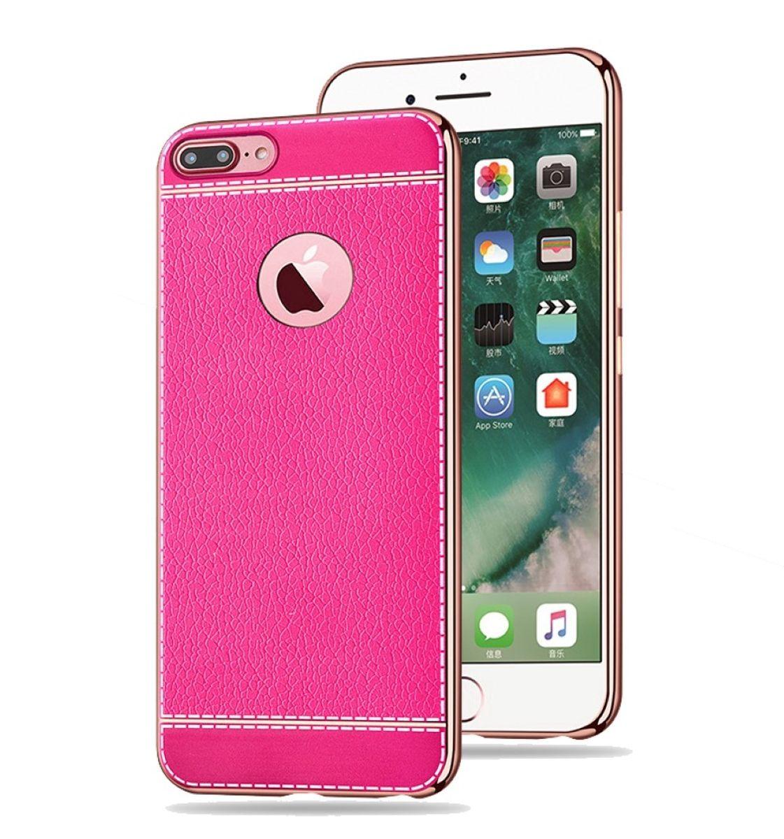 Handy Hülle für Apple iPhone 8 Plus Schutz Case Tasche Bumper Kunstleder Pink