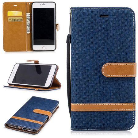 Tasche für Apple iPhone 8 Plus Jeans Cover Handy Schutz Hülle Case Dunkelblau