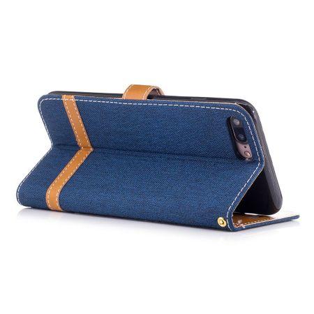 Tasche für Apple iPhone 8 Plus Jeans Cover Handy Schutz Hülle Case Dunkelblau – Bild 3
