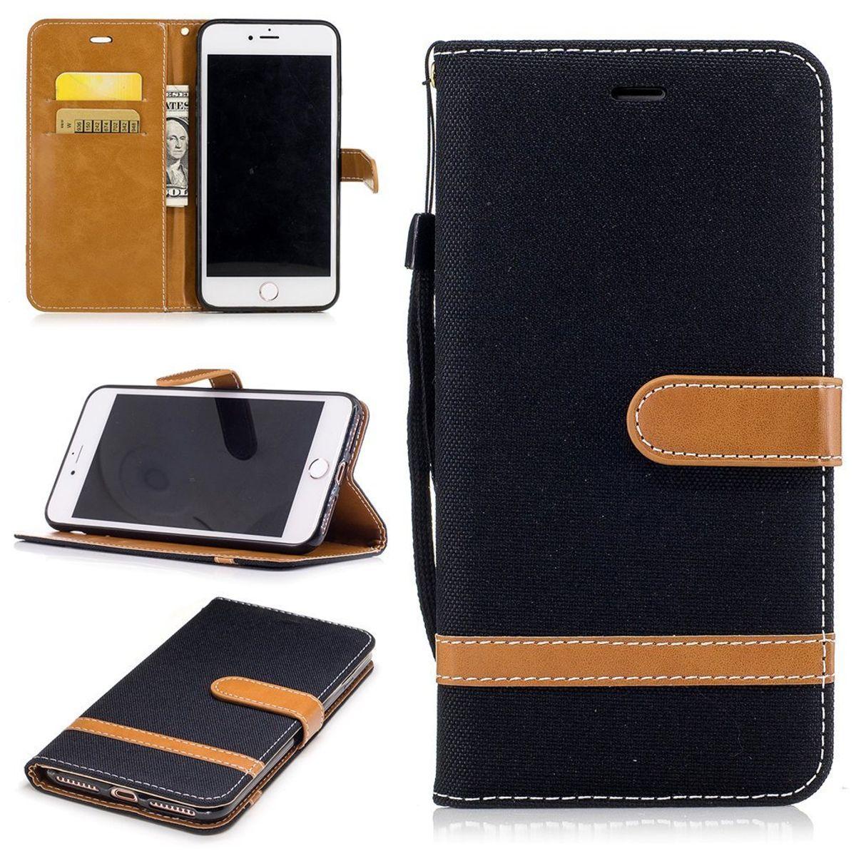 Tasche für Apple iPhone 8 Plus Jeans Cover Handy Schutz Hülle Case Schwarz