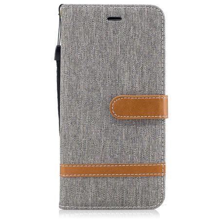 Tasche für Apple iPhone 8 Plus Jeans Cover Handy Schutz Hülle Case Grau – Bild 7