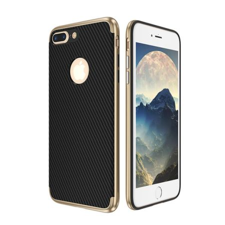 Hybrid Silikon Handy Hülle für Apple iPhone 8 Case Cover Tasche Gold