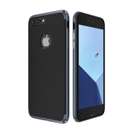 Hybrid Silikon Handy Hülle für Apple iPhone 8 Plus Case Cover Tasche Blau