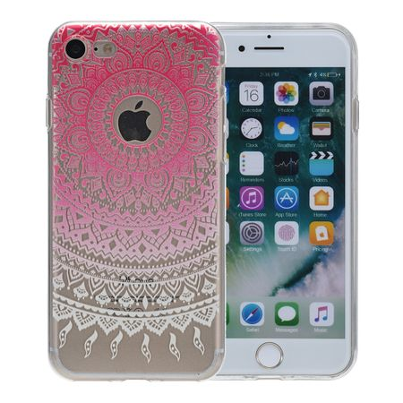 Henna Cover für Apple iPhone 8 Plus Case Schutz Hülle Silikon Sonne Pink