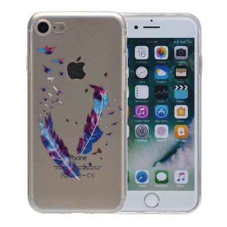 Henna Cover für Apple iPhone 8 Plus Case Schutz Hülle Silikon Federn Bunt