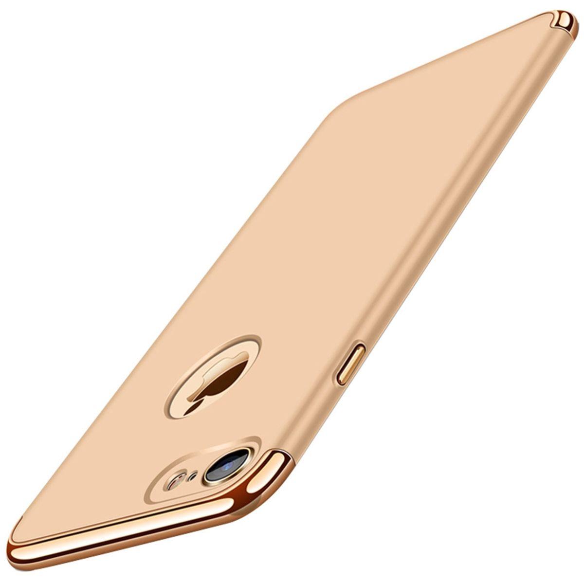 Handy Hülle Schutz Case für Apple iPhone 8 Bumper 3 in 1 Cover Chrom Etui Gold