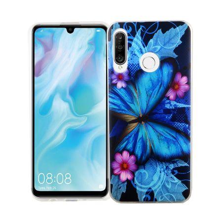 Huawei P30 lite New Edition König-Shop Handy-Hülle Schutz-Case Cover Bumper Schmetterling Blau
