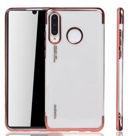 Handyhülle für Huawei P30 lite New Edition Rose Pink - Clear - TPU Silikon Case Backcover Schutzhülle in Transparent / glänzender Rand Rose Pink