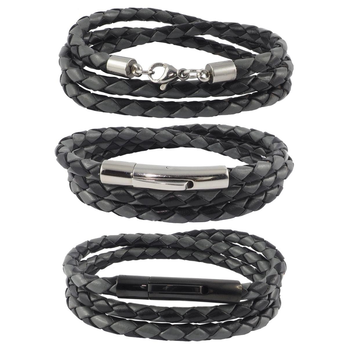 10 Stück Lederkette Halskette Lederband Kette Karabiner Verschlus Schwarz