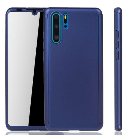 Huawei P30 Pro New Editition Handy-Hülle Schutz-Case Full-Cover Panzer Schutz Glas Blau