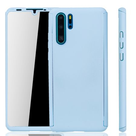 Huawei P30 Pro New Editition Handy-Hülle Schutz-Case Full-Cover Panzer Schutz Glas Hellblau
