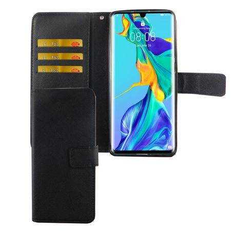 Huawei P30 Pro New Editition Tasche Handy-Hülle Schutz-Cover Flip-Case mit Kartenfach Schwarz
