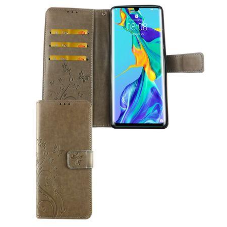 Huawei P30 Pro New Editition Handy-Hülle Schutz-Tasche Cover Flip-Case Kartenfach Grau