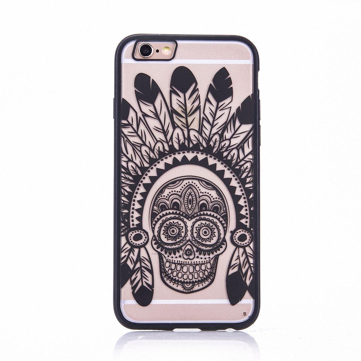 Handy Hülle Mandala für Apple iPhone SE 2020 Design Case Schutzhülle Motiv Federn Totenkopf Cover Tasche Bumper Schwarz