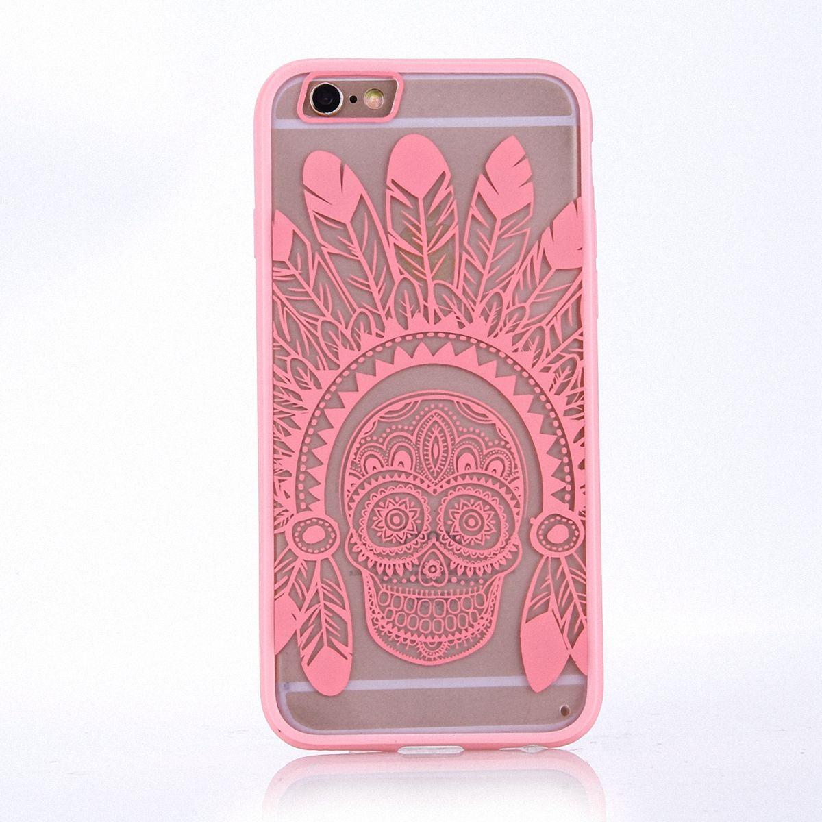 Handy Hülle Mandala für Apple iPhone SE 2020 Design Case Schutzhülle Motiv Federn Totenkopf Cover Tasche Bumper Rosa