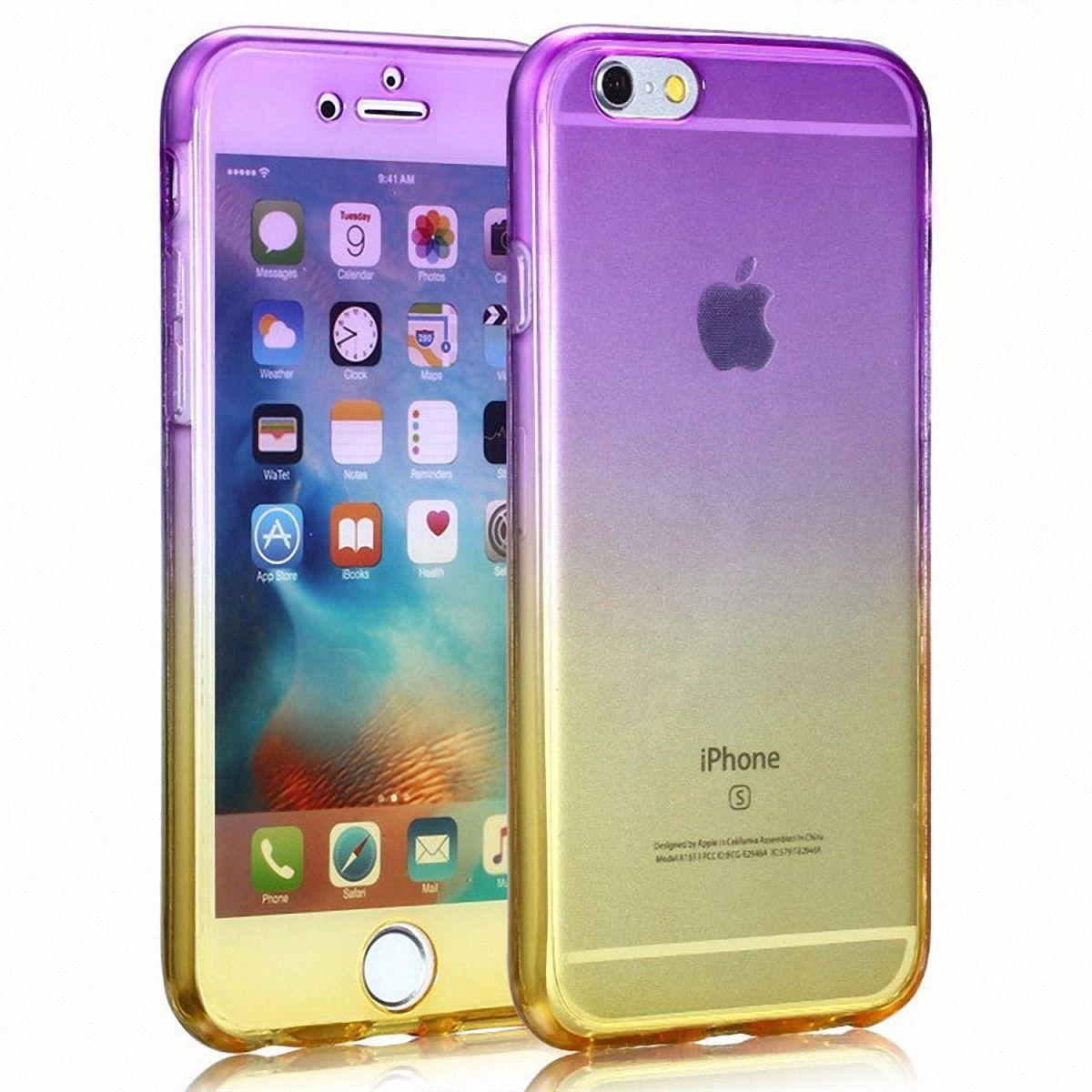 Crystal Case Hülle für Apple iPhone SE 2020 Lila Gelb Rahmen Full Body