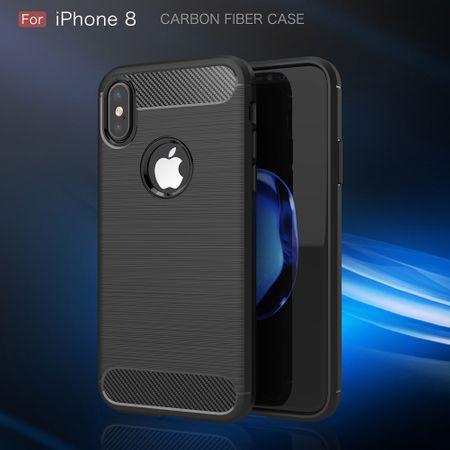 Apple iPhone X Cover TPU Case Silikon Schutz-Hülle Handy Bumper Carbon Optik Schwarz – Bild 2