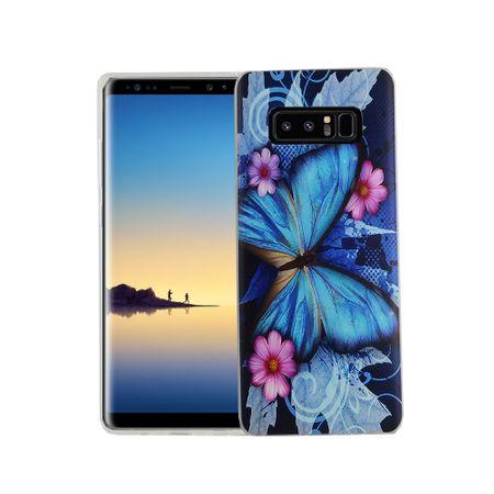 Handy Hülle für Samsung Galaxy Note 8 Cover Case Schutz Tasche Motiv Slim Silikon TPU Blauer Schmetterling
