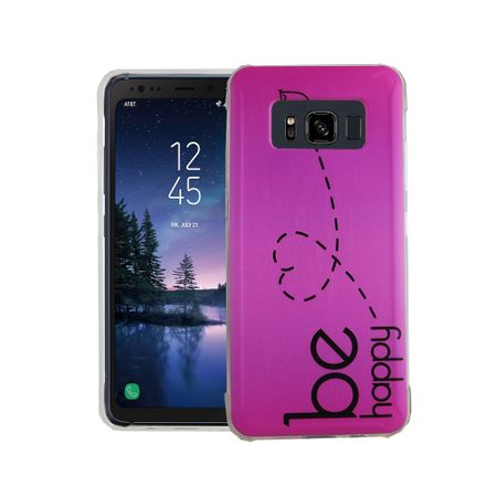 Handy Hülle für Samsung Galaxy S8 Active Cover Case Schutz Tasche Motiv Slim Silikon TPU Be Happy Pink