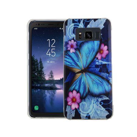 Handy Hülle für Samsung Galaxy S8 Active Cover Case Schutz Tasche Motiv Slim Silikon TPU Blauer Schmetterling