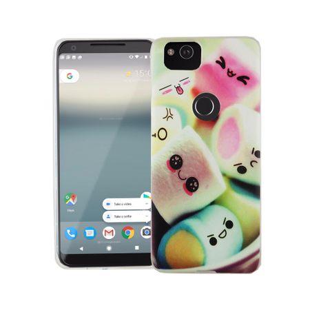 Handy Hülle für Google Pixel 2 Cover Case Schutz Tasche Motiv Slim Silikon TPU Schriftzug Marshmallows