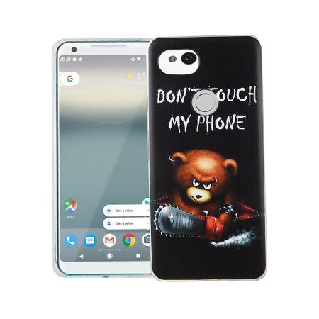 Handy Hülle für Google Pixel 2 XL Cover Case Schutz Tasche Motiv Slim Silikon TPU Schriftzug Bär mit Kettensäge