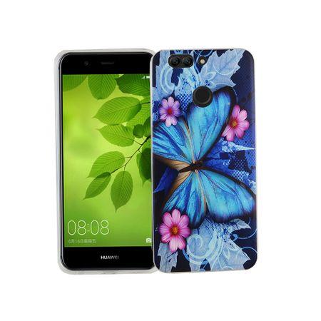 Handy Hülle für Huawei Nova 2 Plus Cover Case Schutz Tasche Motiv Slim Silikon TPU Blauer Schmetterling