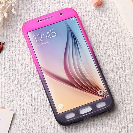 Huawei P9 Handy-Hülle Schutz-Case Full-Cover Panzer Schutz Glas Pink / Violett