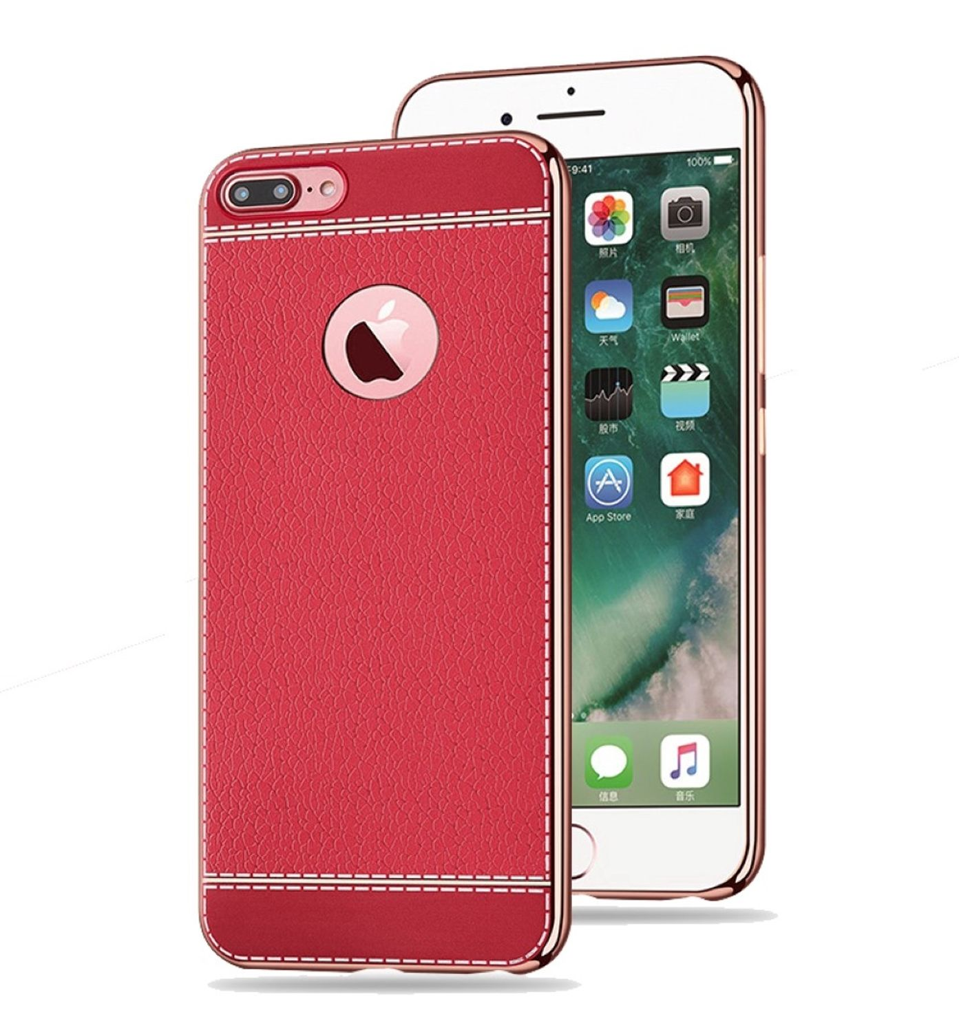 handy h lle f r apple iphone 6s plus schutz case tasche bumper kunstleder rot. Black Bedroom Furniture Sets. Home Design Ideas